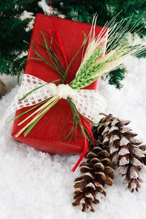 Festive holiday gift wrapped in red recycled paper is decorated with raffia and wheat to create a natural, down-home country feeling, set in a snowy background accented with glittery pinecones and green pine branches. Zdjęcie Seryjne