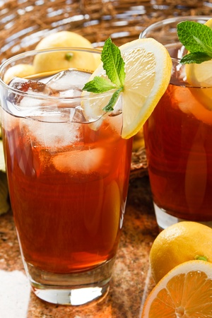 Refreshing iced tea makes a perfect drink on a hot summer day photo