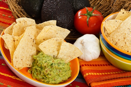 dipping: Fresh Guacamole is served up with corn chips