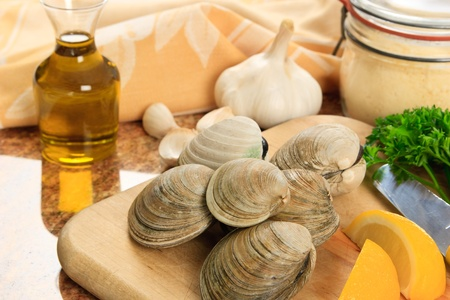 allergic ingredients: Littleneck clams arranged with ingredients for preparing baked clams - shellfish are a delicious meal but also a represent a dangerous food allergen