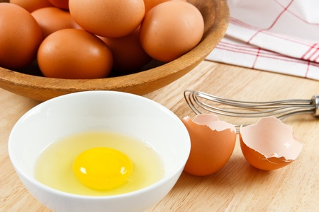 allergic ingredients: Eggs are a healthy food and a dangerous allergen for anyone with a food allergy Stock Photo