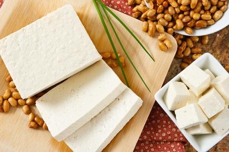Sojabonen en tofu zijn een goede bron van eiwitten en een ernstig voedselallergeen. Stockfoto