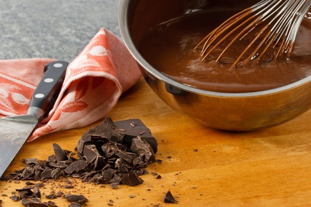 stir: Rich, creamy chocolate pudding in a sauce pan with chocolate chunks and kitchen utensils