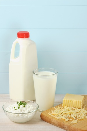 Milk, cottage cheese and shredded swiss cheese are healthy sources of protein and food allergens Stok Fotoğraf - 13184673