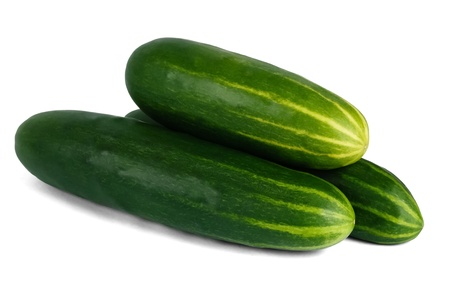 heap: Stack of three fresh green cucumbers on a white background with shadow show a healthy vegetarian food