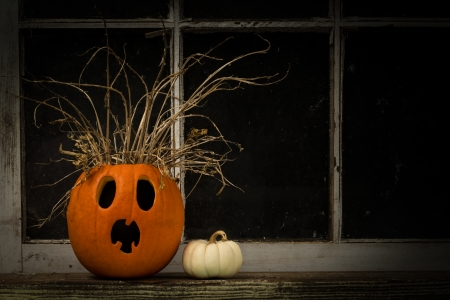 Shocked Jack-O-Lantern On A Window Ledge photo