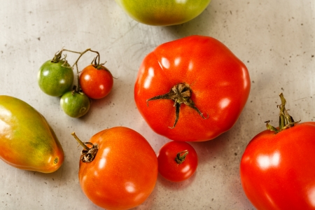 Overhead view of mixed unripe green and ripe red tomatoes on an old worn metal baking sheet