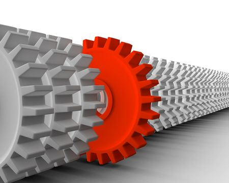 out of focus: 3d render of gears. Different concept. Business metaphor.
