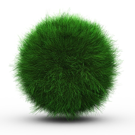 fun grass: 3d render of green grass ball on white background.