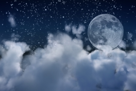 a view over the clouds in a dreamy night. Banque d'images