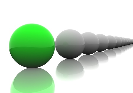 Follow the leader. 3D render of spheres. Banque d'images