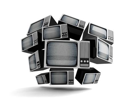 Retro TV in front with static  on white background