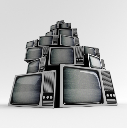 distorted image: Retro TV in front with static on white background