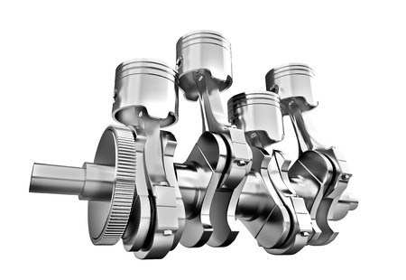 engine pistons: Engine pistons and cog on white background  3D image