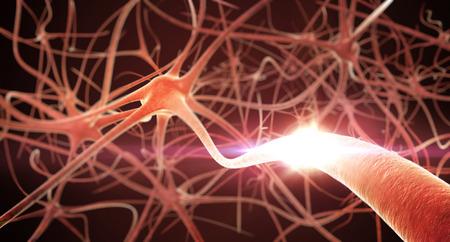 neuron: Procesamiento 3D de las neuronas de la red. Poca profundidad de campo. Foto de archivo