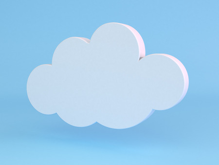 3D render of cloud icon on light blue background. photo