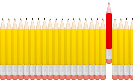 3D render of detailed pencil isolated on grey background. photo