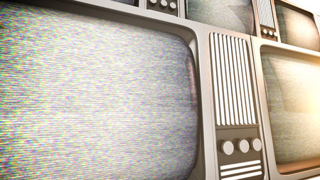 3D render of retro tv sets with static. photo