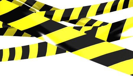 3D render of Barrier tape. Yellow and black colors. photo