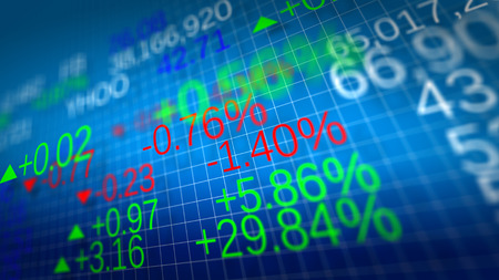 Display of Stock market quotes. Shallow depth of fields. Banque d'images