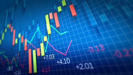 Stock Market Chart on blue background. Shallow Depth of Field.