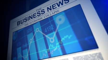 tabloid: Newspaper with business news titles and stock market chars.