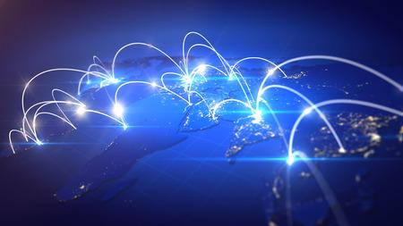グローバル ビジネスの接続概念。フィールドの深さ。