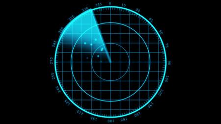 현대 레이더 스크린 디스플레이. 비행 스캐너.