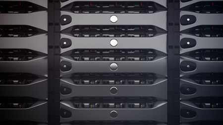 server hardware: Modern Network servers in a data center. 3D render.