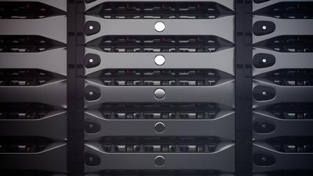 Modern Network servers in a data center. 3D render.