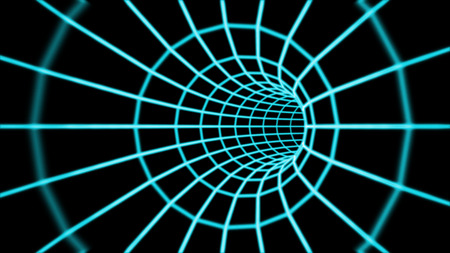 Render of Abstract 3d tunnel from a grid. Stock Photo