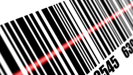 Scanner scanning barcode on with white background. Depth of fields. Stock Photo