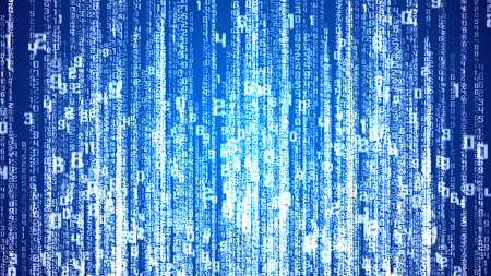 Digital white numbers as code rain on a blue background