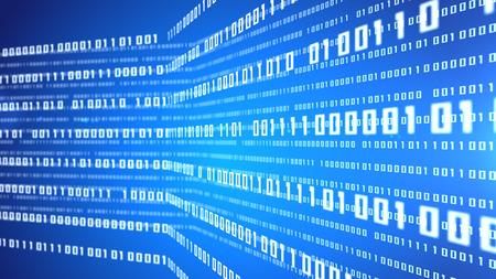 metadata: Digital illustration of Abstract binary code blue background. Depth of field. Stock Photo