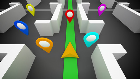 3d GPS route navigation and marks on a map
