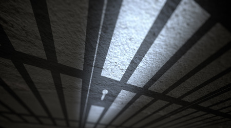 delinquent: Jail cells shadows on the prison floor. Stock Photo