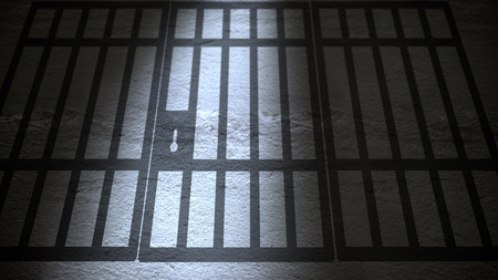 Shadow of Jail Bars closing in perspective view Stock Photo