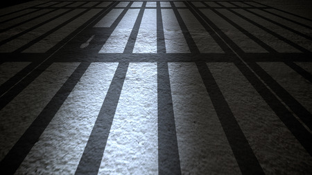 Prison Interior with Jail Bars closing.