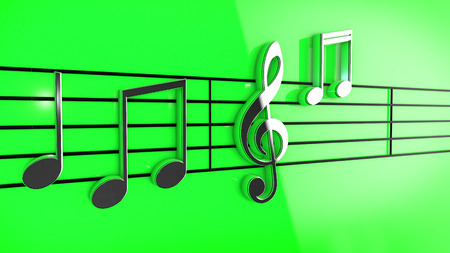 3d music: 3D Music notes on staves on green background.
