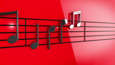 3d music: 3D Music notes on staves on red background.