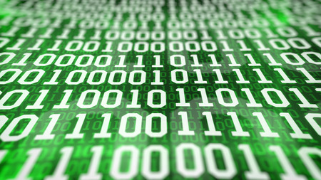 listing: binary code screen listing table on green background. Closeup.