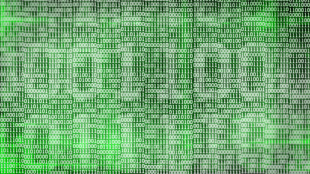 listing: binary code screen listing table on green background.