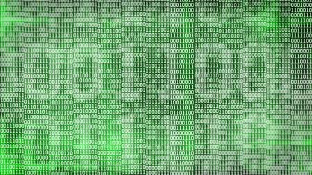 code: binary code screen listing table on green background.