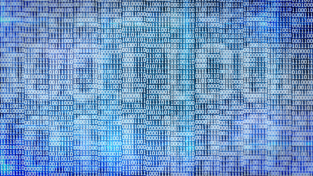 listing: binary code screen listing table on blue background
