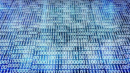 listing: binary code screen listing table on Blue background Stock Photo
