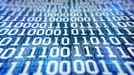 cryptogram: Closeup of binary code on blue background. Depth of field. Stock Photo