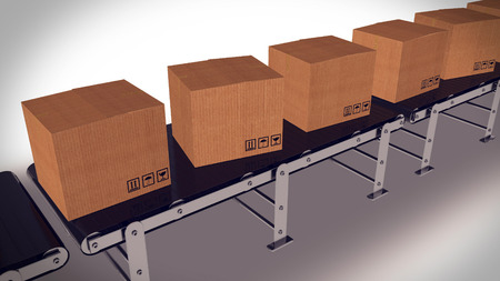 computerized: Shipping Boxes On A Conveyor Belt Shipping Merchandise. Concept.