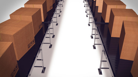 conveyor belts: Packing and sorting industry Concept. Cardboard boxes on conveyor belts.