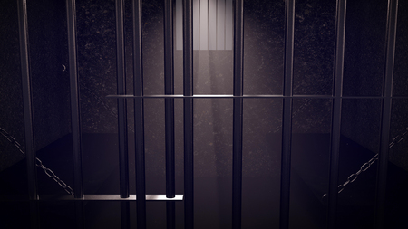 3D Render of locked prison cell for two persons. Dark atmosphere.
