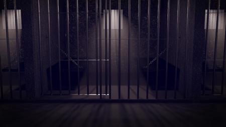 cellule prison: Un couloir dans une prison de nuit montrant des cellules de prison. Banque d'images